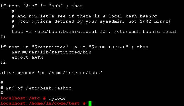 Linux/shell命令alias增加自定义命令